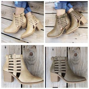 Caged Ankle Boots With Buckle